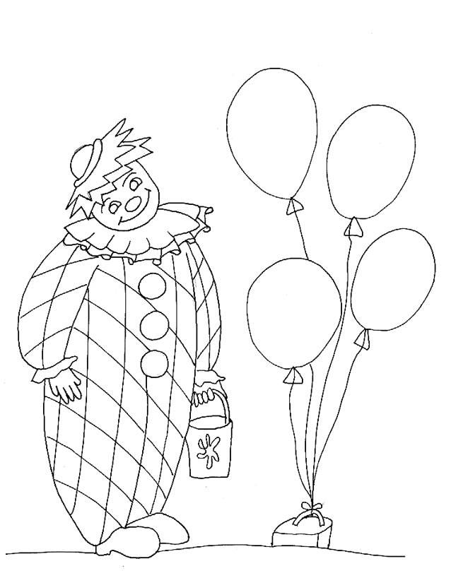Free coloring and drawings Clown with bucket in hand Coloring page