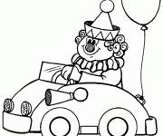 Coloring pages Funny clown drives his car