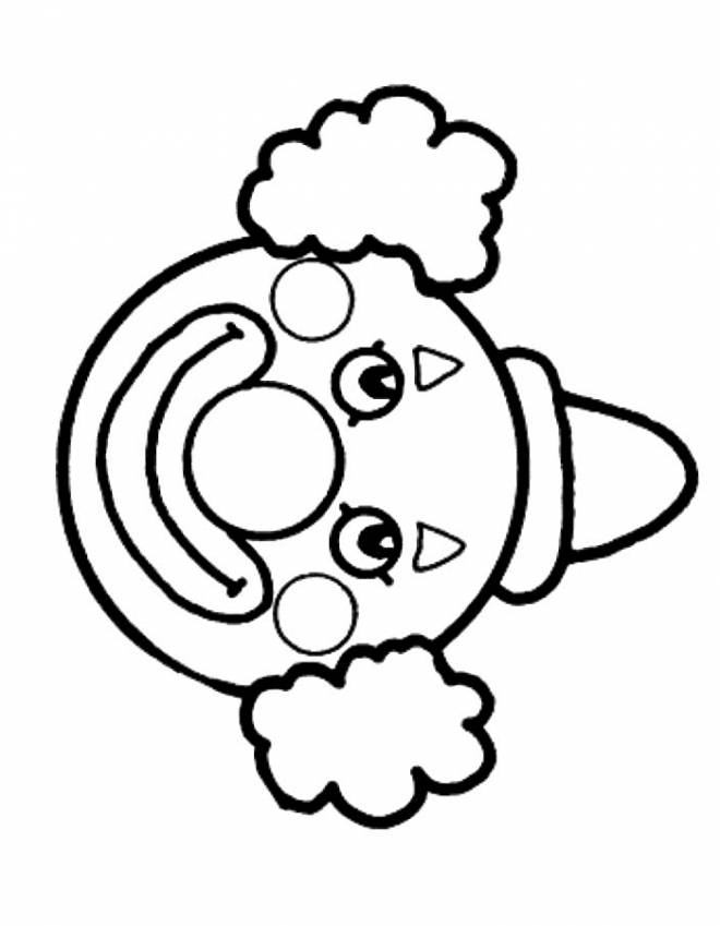 Free coloring and drawings Funny clown head Coloring page