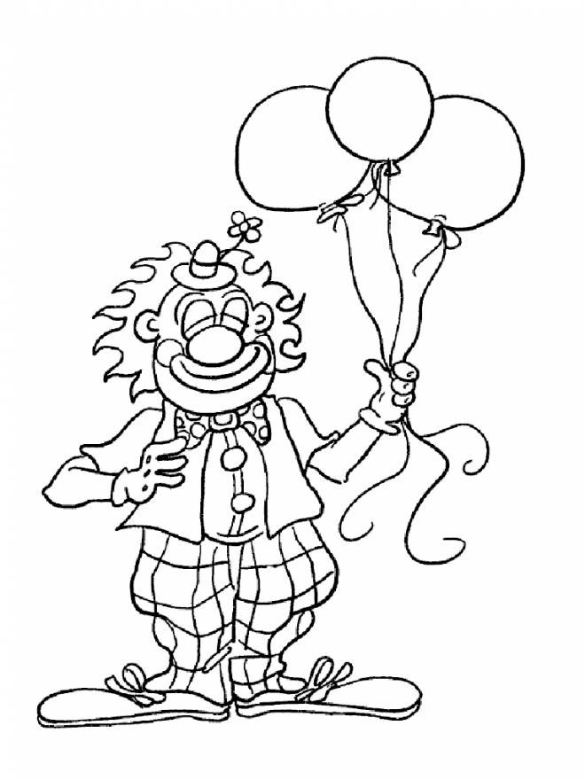 Free coloring and drawings The clown and balloons Coloring page