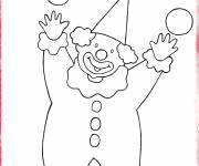 Coloring pages The clown and the four balls