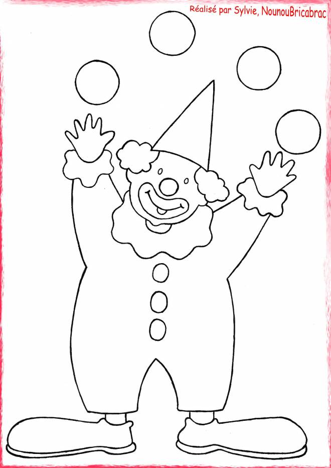 Free coloring and drawings The clown and the four balls Coloring page