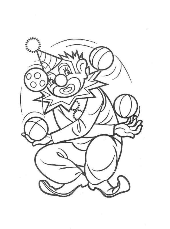 Free coloring and drawings The clown juggles with several balls Coloring page