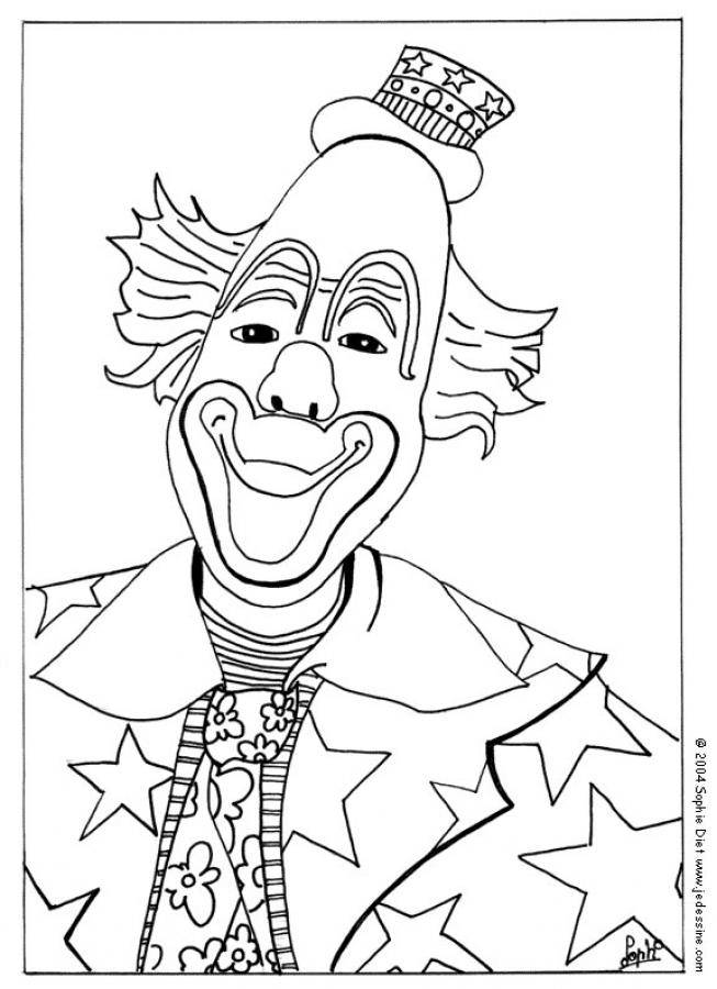 Free coloring and drawings The clown with a small hat Coloring page