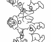 Coloring pages Three clowns dance