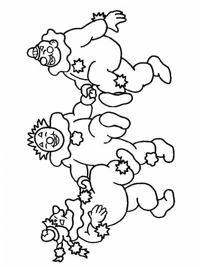Free coloring and drawings Three clowns dance Coloring page