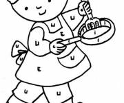 Coloring pages A small stove and the chef's hat