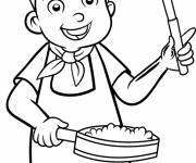 Free coloring and drawings Child cook Coloring page