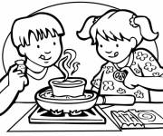Coloring pages Children prepare dinner