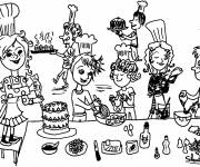 Coloring pages Cook and birthday cake