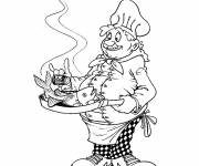 Coloring pages Cook and fish