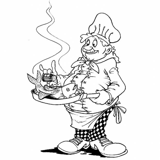 Free coloring and drawings Cook and fish Coloring page