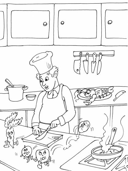 Free coloring and drawings Cook and food Coloring page