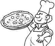 Free coloring and drawings Cook and pizza Coloring page