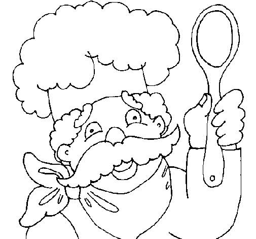 Free coloring and drawings Cook and spoon Coloring page