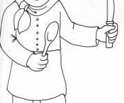 Coloring pages Cook and utensils