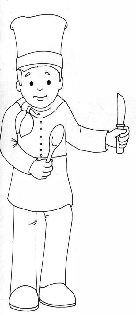 Free coloring and drawings Cook and utensils Coloring page