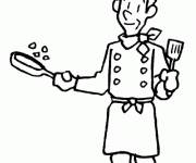 Coloring pages Cook at work