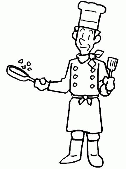 Free coloring and drawings Cook at work Coloring page