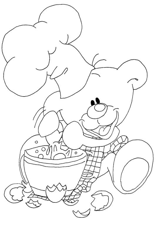 Free coloring and drawings Cook Bear Coloring page
