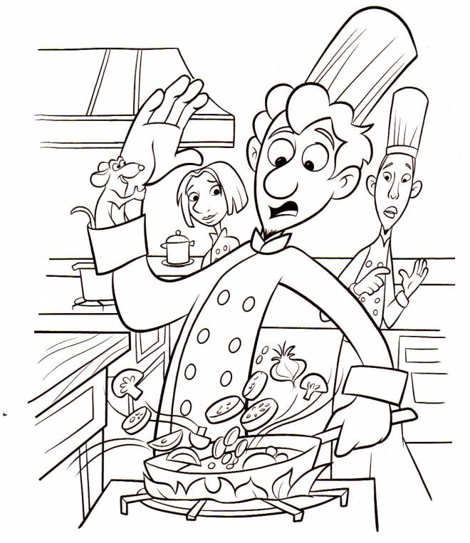 Free coloring and drawings Cook in the kitchen Coloring page