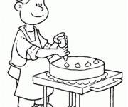 Coloring pages Cook prepares a cake