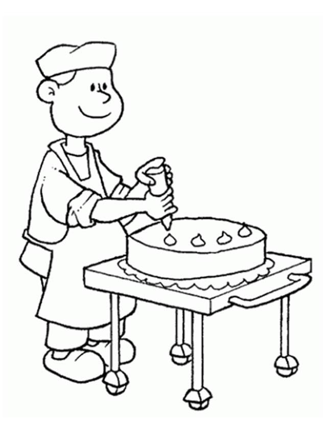 Free coloring and drawings Cook prepares a cake Coloring page