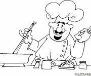 Coloring pages Cook prepares meal