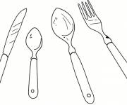 Coloring pages Fork and spoons