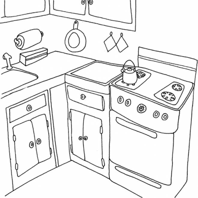 Free coloring and drawings Home cooking Coloring page