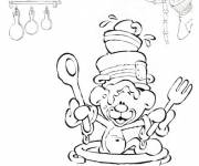 Coloring pages Humorous little bear cooking