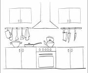 Coloring pages Kitchen, elements and utensils