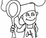 Free coloring and drawings Little Cook Coloring page