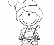 Coloring pages Little Cook while smiling