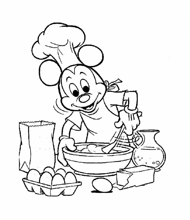 Free coloring and drawings Mickey Mouse Cook Coloring page
