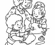 Coloring pages Mom and kids baking pie