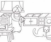 Coloring pages Mom in the kitchen