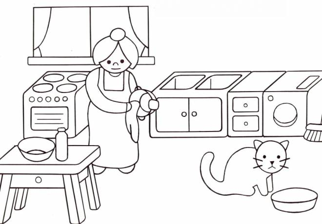 Free coloring and drawings Mom in the kitchen Coloring page