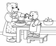Coloring pages Mother Bear Cook