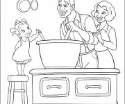 Coloring pages Parents and their daughter in the kitchen