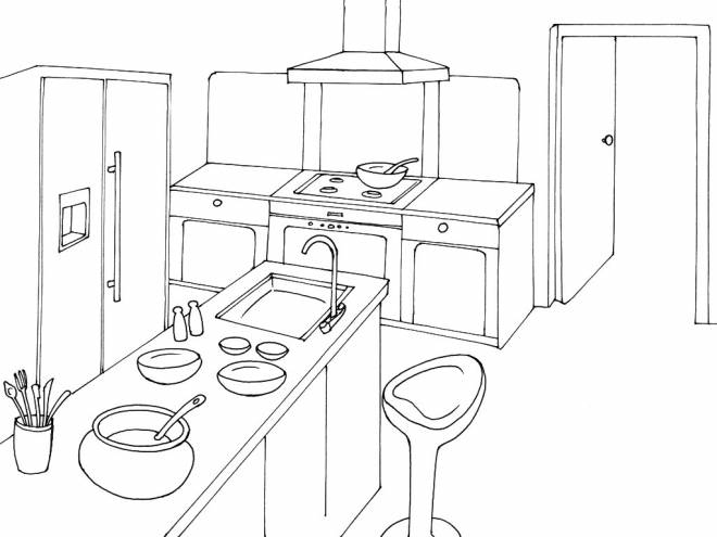 Free coloring and drawings Perspective kitchen Coloring page