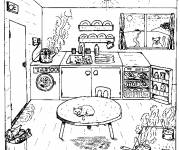 Coloring pages Simple drawing kitchen