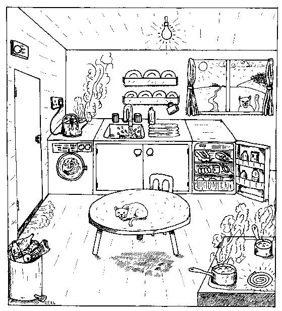 Free coloring and drawings Simple drawing kitchen Coloring page