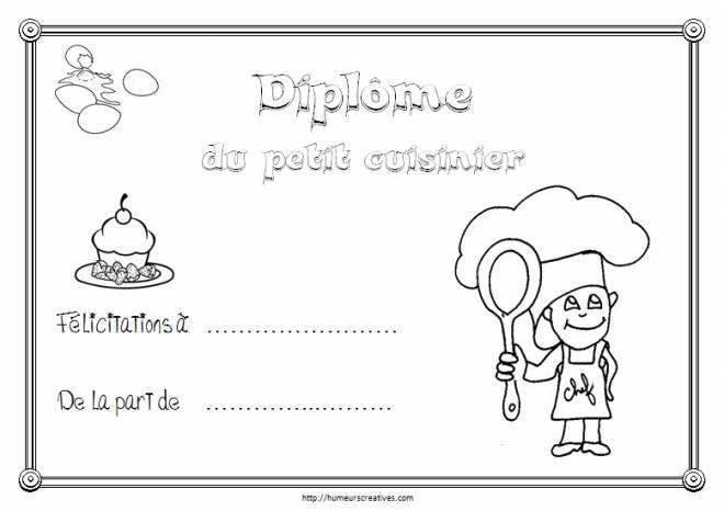 Free coloring and drawings Small cook diploma Coloring page