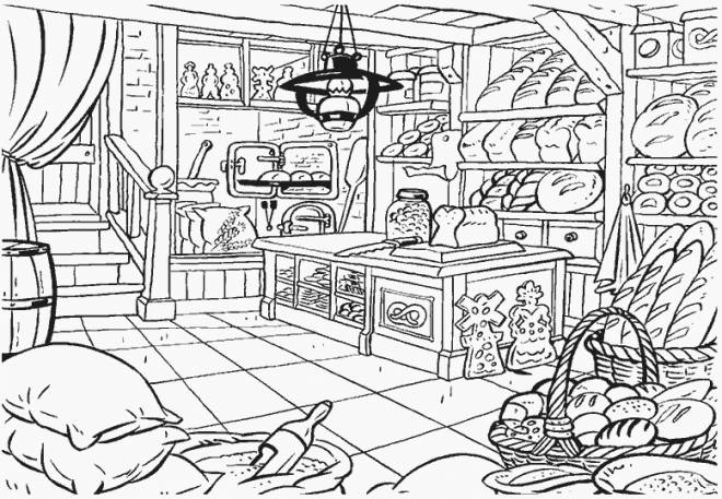 Free coloring and drawings the bakery Coloring page