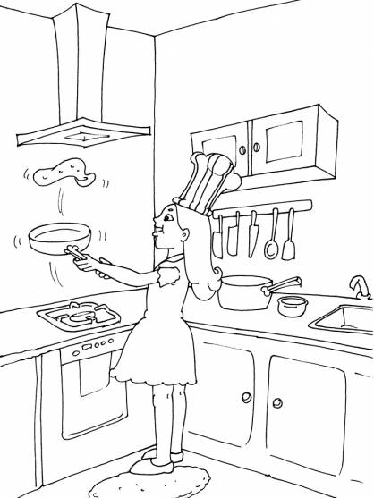 Free coloring and drawings the girl is preparing omelets Coloring page
