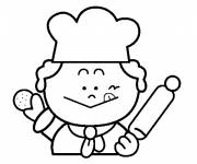 Coloring pages The little baker and the cookie