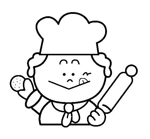 Free coloring and drawings The little baker and the cookie Coloring page