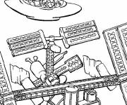 Coloring pages Aliens and Shuttle