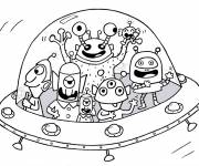 Coloring pages Aliens in a saucer